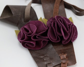 Purple Suede Flower with Distressed Brown Leather Cuff Bracelet
