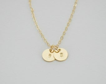 Two Gold Discs Initial Necklace - tiny gold filled dot small circle charm pendant hand stamped for her - simple everyday jewelry