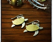 Seaturtle Earrings, silver and brass