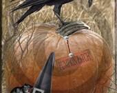 Primitive Digital Art - Old Crow, Fall Harvest, Pumpkin Patch, Pantry Jar - Candle, Crock, Rusty Cans - Label - JPEG File Instant Download