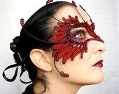 Red and black bird masquerade ball mask, animal mask, handmade mask, halloween mask,womens, costume, accessories