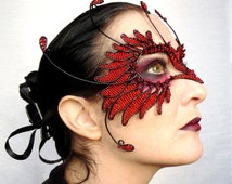 Red and black bird masquerade ball mask, animal mask, handmade mask, halloween mask,womens, costume, accessories