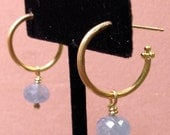 Gold Hoop Earrings with blue sapphire beads, hand forged gold
