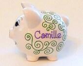 Personalized Piggy Bank Green Swirls Geometric