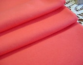 "1.6 yard Vintage Double Knit Fabric -Solid Color Salmon Pink Orange Peach Stretch Material- 62"" wide"