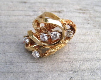 Clearance Sale, Vintage Diamond Cocktail Ring, 14K Yellow Gold, Estate Jewelry, Size 7, 1970's Ladies Diamond Ring
