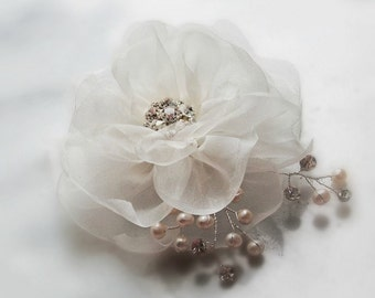 Ivory Hair Flower, Bridal Fascinator, Silk Organza Flower Clip with Freshwater Pearls and Crystals, White, Champagne, Custom Colors - SPRING