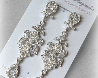 Cubic Zirconia Crystal Earrings, Chandelier Earrings, Rhinestone Bridal Earrings - DAPHNE