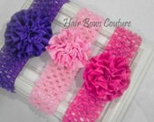 Infant, Newborn Satin Pom Pom  Flower Headband, Newborn Petite Flower Headband Dressy Flower Headband, Newborn Baby Headband Photo Prop Gift