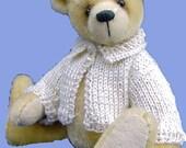 Miniature knitting pattern cardigan for a teddy bear