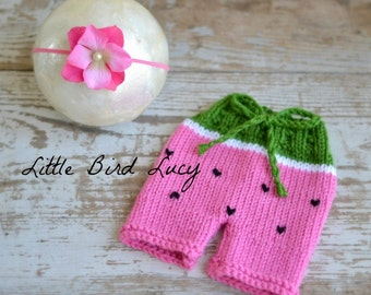 Watermelon Headband and Shorts Set Baby Knitted Photo Prop, Newborn, 0-3 Months, Knit Shorties Diaper Cover, Infant Gift, Pink, White, Black