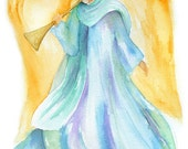 Angel Watercolor Christmas Card - Set of 10 - 5 x 7