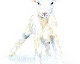 Lamb Watercolor Painting Print - Giclee Print - 5 x 7 - Nursery Art