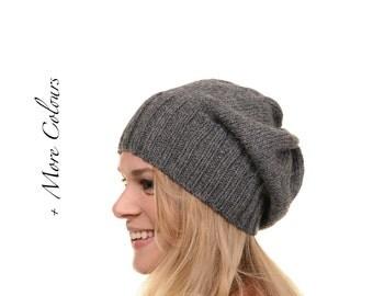Slouchy Beanie. Slouchy Hat. Women's Hat.  Beret. Knit Hat. Grey. Gray. Alpaca, Wool