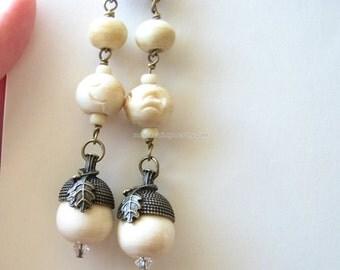 Beaded earrings | wood acorn | autumn | long dangle | nature lover gift | for her | Final Sale