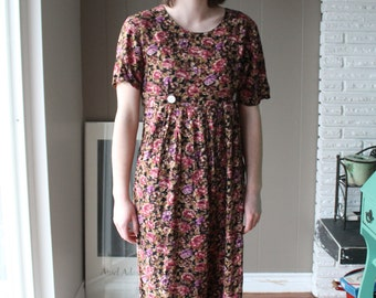 Jamie Brooke Rayon Jumpsuit/ 90s Grunge Floral Dress  / Shell Button / Maxi Dress / Pants with pocket