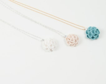 Flower Pendant Necklace Sterling Silver ,14 ct Gold Filled Chain , White ,Ivory, Ecru ,Turquoise Porcelain  ,Bridesmaid Gift Wedding Jewelry