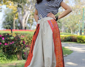100 percent hemp Harem pants in natural white and bright orange with hand embriodery Tribal Ethnic