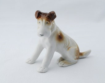 Vintage German Schnauzer Airedale Dog Figurine - Porcelain 1950's - #11106 - White and Brown Large Terrier Dog