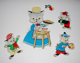 "Vintage Three Little Kittens ""Mother Goose"" Pin-Ups - 1950's - Complete Set #289 - Nursery Rhymes Series"