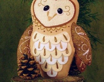 Barn Owl Sewing Pattern PDF - Woodland Stuffed Animal Felt Plushie - Bailey the Barn Owl - Instant Download