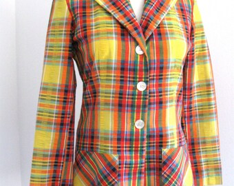 Vintage 70's Adelaar Seersucker Blazer Hello Spring That 70's Show Yellow Orange Pink Turquoise Green Size 12