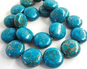 """Turquoise Coin Beads - Pyrite Blue Gold Composite - Drilled Gemstone Coin Beads - 7.5"""" Strand - 16mm - Smooth Beads For Jewelry Projects"""