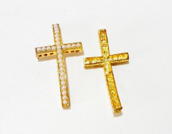 Gold cross connector bracelet white pearl