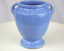 Vintage 40s Blue Pottery Vase w Small Handles