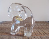 Vintage Art Glass Elephant Paperweight by George Good