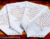 Embroidered Wedding Handkerchiefs, Wedding Gift, Set of Four, Wedding Mother of the Bride Family, In-Laws Wedding Gift, by Canyon Embroidery