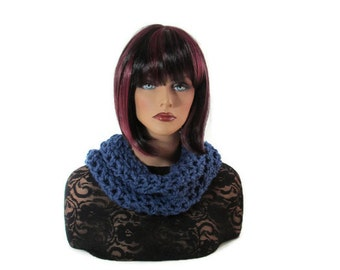 Dark Blue Scarf, Blue Neckwarmer, Blue Cowl, French Blue, Mens Neckwarmer, Christmas, Womens Scarf, Cowl, Crocheted, Infinity, Chunky, Scarf