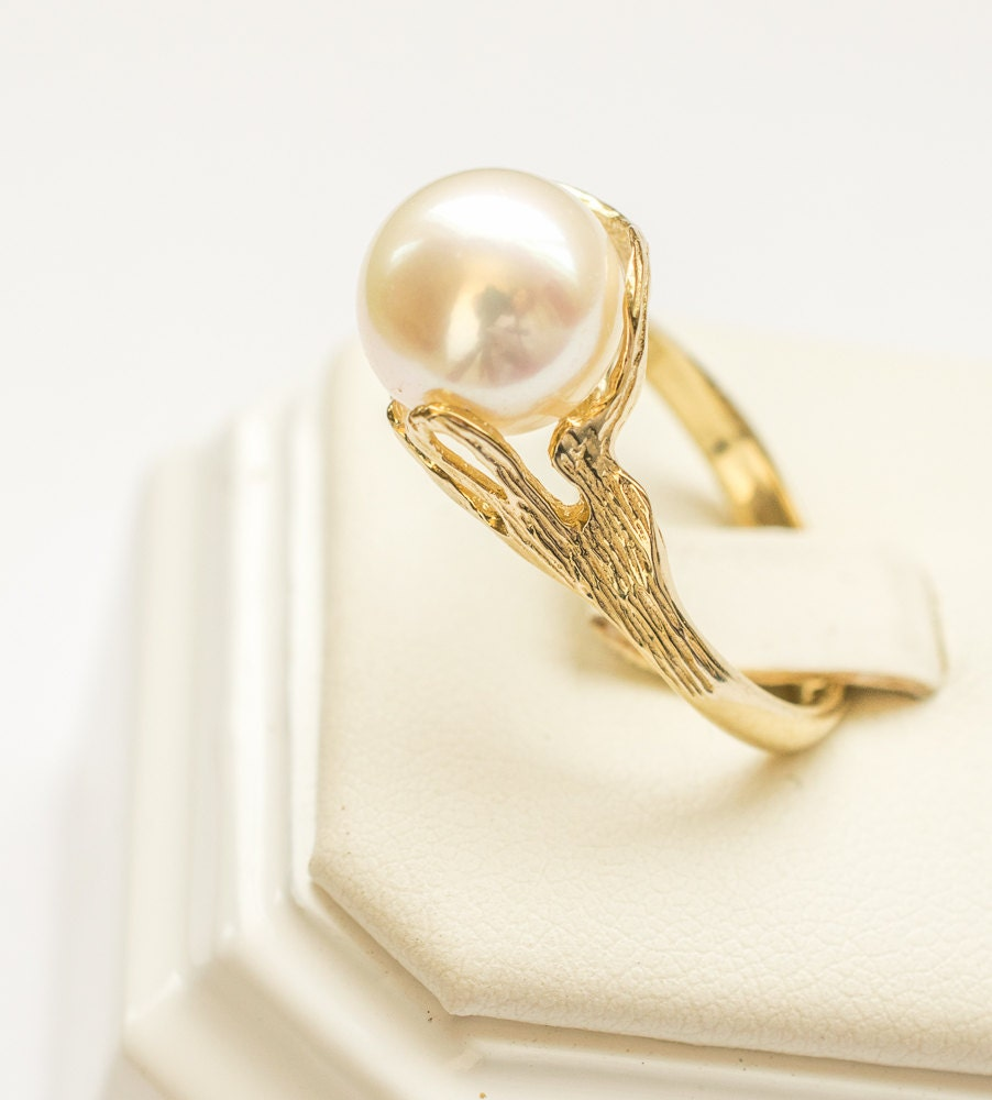 pearl engagement ring unique ring gold pearl ring gift