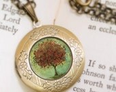 Fall Tree Locket Necklace - Illustrated Green and Red Tree Necklace - Bronze Locket - Welcome Change - Wearable Art with Bronze Chain