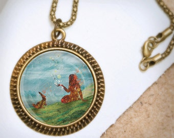 Illustrated Necklace - Girl and Bunny Pendant - Whimsical Jewelry - Vintage Bronze Pendant - Storytelling - Wearable Art Necklace