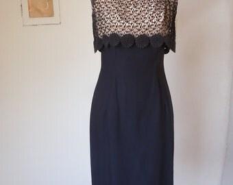Vintage 60's Cocktail Dress, Black Lace Dress, Sleeveless, LBD, Little Black Dress, Wiggle Dress, Rockabilly, Small, Waist 26
