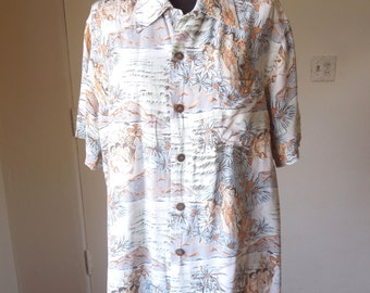 LAST CHANCE SALE...Vintage Rayon Hawaiian Shirt, Gray, White, 40's 50's Style, Men's Medium, Women's Large, by Kamehameha