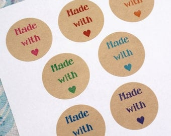 Choose your COLOR - 60 MADE WiTH LOVE & mini HEaRT 1 inch kraft brown Circle Stickers-party favors, gifts, weddings