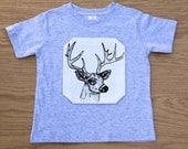 D is for Deer- hand drawn, hand printed toddler t-shirt