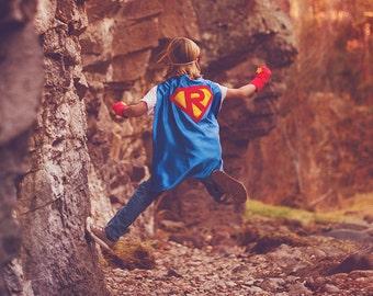 Personalized Superhero Cape - Custom Initial Cape - Super hero party - boy birthday gift - Christmas gift