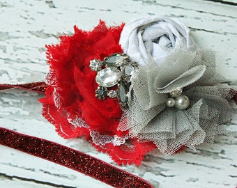 Glimmer and Shimmer- sparkling red, white and grey ruffle and rosette headband