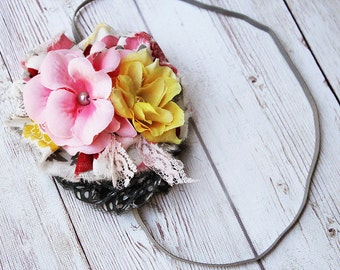 A Time to Remember-  pink burgundy yellow and grey ruffle with silk flower headband