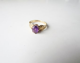 Antique Victorian 14k Gold and Amethyst Ring c.1890s