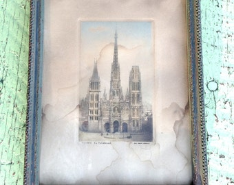 Antique French Cathedral Engraving Etching Print Alfred Herbert Framed 1800s