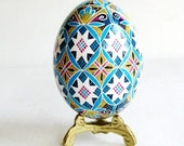 Turquoise Pysanka Ukrainian Easter egg fancy hand painted batik egg, perfect gift for new couple, symbol of fertility, bridesmaids gifts