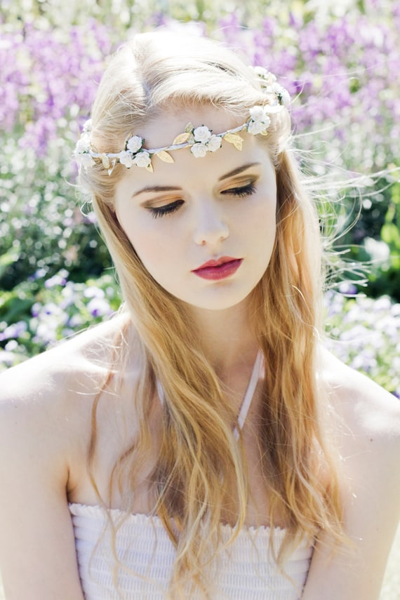 Olympic White Rose and Gold Leaf Flower Crown, Grecian Flower Crown, Greek Goddess Crown, Greek Wedding, Festival Crown, Bridal Flower Crown