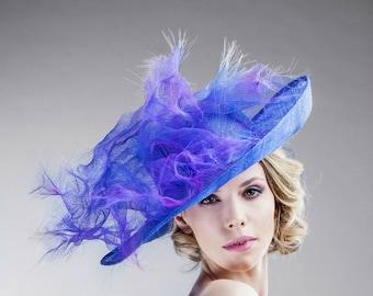Derby Hats - Designer Blue Straw Hat -Women's Accessories - Asymmetric Brim -Handmade Blue and Purple Trimming - Up Brim - Wedding
