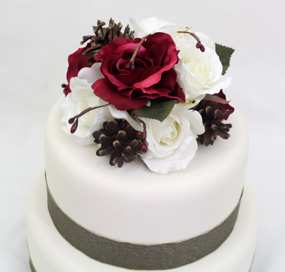 Winter Wedding Cake Topper Cranberry Burgundy Red White
