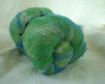 Wool Alpaca Batt for spinning green with blue and white 3.6 oz.