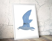 seagull silhouette in blue, flying bird digital silhouette print, 11x14 poster, animal art, minimal wall decor, cyan, reclaimed wood art